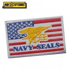 Patch Ricamata Bandiera US Navy Seals 8 x 5 cm R Militare Softair con Velcrogrip