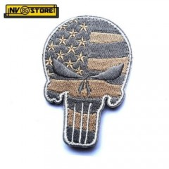Patch Ricamata SKULL Sniper Punisher USA 9 x 6 cm Militare Grey con Velcrogrip