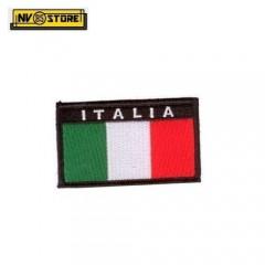 Patch Ricamata Bandiera Italiana Scudetto ITALIA 8 x 5 Militare con Velcrogrip