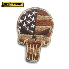 Patch Ricamata SKULL Sniper Punisher USA 9 x 6 cm Militare Tan con Velcrogrip