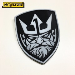 Patch in PVC Nettuno Team1 NAVY SEALS BK 7x8,5cm Militare Softair con Velcrogrip