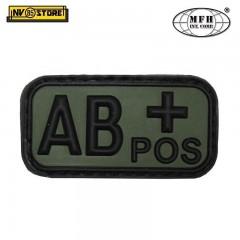 Patch in PVC AB+ MFH Verde 5 x 2,5cm Militare Softair Soccorso con Velcrogrip