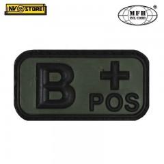 Patch in PVC B+ MFH Verde 5 x 2,5cm Militare Softair Soccorso con Velcrogrip