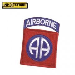 Patch Tessuto Ricamata AIRBORNE 8 x 6 cm Punisher Militare Softair da cucire