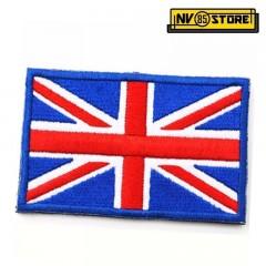 Patch Ricamata Bandiera Regno Unito Uunited Kingdom Tan 8x5cm Militare con Velcr