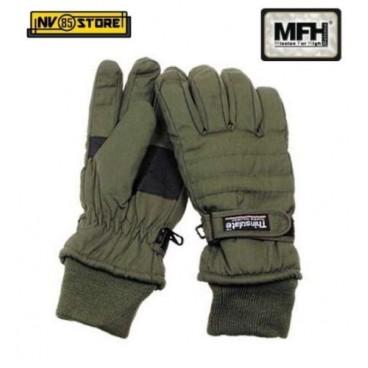Guanti da Neve MFH Imbottiti Thinsulate Hunting Caccia Bosco Lavoro Nero o Verde