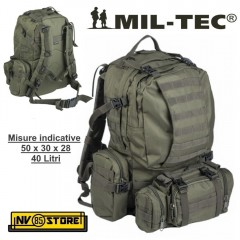 ZAINO TATTICO INCURSORE MILTEC 45 LT DEFENSE PACK ASSEMBLY SOFTAIR SURVIVOR OD