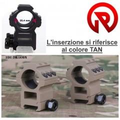Set 2 Pezzi Attacchi Anelli Ottica o Torcia 30x22 TAN per Fucile slitta Weaver