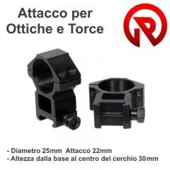 Set 2 Pezzi Attacchi Anelli Ottica o Torcia 25x22 h30 per Fucile slitta Weaver