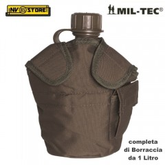 Borraccia 1 Litro con Cover Imbottita MIL-TEC Originale Made in USA Ermetica OD