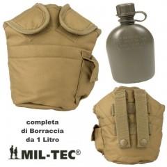Borraccia 1 Litro con Cover Imbottita MIL-TEC Originale Made in USA Ermetica TAN