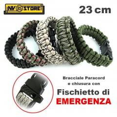 BRACCIALE BRACCIALETTO CORDA TRECCIA PARACORD 23cm CON FISCHIETTO SOS
