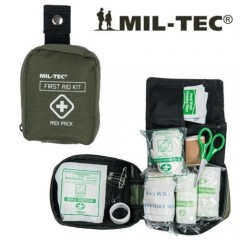 FIRST AID KIT PRIMO SOCCORSO EMERGENZA MIL-TEC TASCA PRONTO SOCCORSO LARGE RP OD