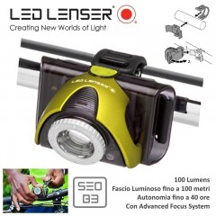 LED LENSER Bike Lamps SEO B3 Torcia Bici Torch 100 Mt Frontale Batterie INCLUSE