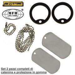 Set 2 Pezzi Piastrina Militare US Dog Tag MFH + Catenina e Protezione in gomma S