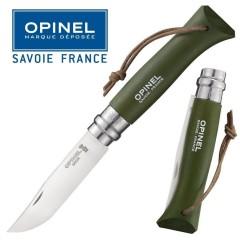"""KNIFE OPINEL N° 8 """"KAKI"""" COLTELLO DA LAVORO CAMPO CACCIA PESCA SURVIVOR FOLDING"""