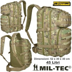 ZAINO TATTICO INCURSORE MIL-TEC ASSAULT 45-50 LITRI MULTITARN SOFTAIR CAMPING