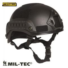 ELMETTO US HELMET MICH 2001 MIL-TEC MILTEC + RAIL SLITTE MILITARE SOFTAIR NERO