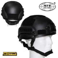 ELMETTO US HELMET MICH 2002 MFH CON RAIL SLITTE MILITARE SOFTAIR NERO BLACK