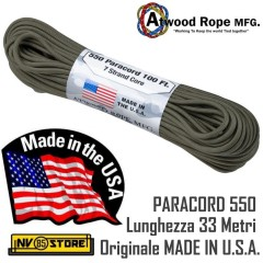 Cordino PARACORD 550 AtWood Rope MFG 33 Metri 250 Kg Originale Made in USA OD