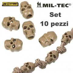 Set 10 Pezzi di Cord Stopper Skull MILTEC Ferma Cavo Cordino PARACORD Teschio CY
