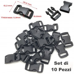 Set 10 Pezzi Clip Plastic Buckle 15mm Chiusura per Braccialetti Cord PARACORD BK