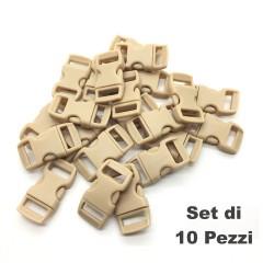 Set 10 Pezzi Clip Plastic Buckle 15mm Chiusura per Braccialetti Cord PARACORD KH