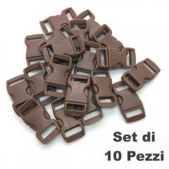 Set 10 Pezzi Clip Plastic Buckle 15mm Chiusura per Braccialetti Cord PARACORD BR