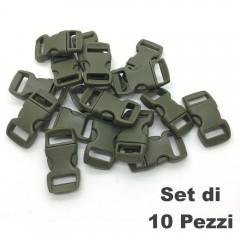 Set 10 Pezzi Clip Plastic Buckle 15mm Chiusura per Braccialetti Cord PARACORD OD