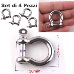 Set 4 Pezzi Grillo Moschettone INOX 25mm O-Shape Chiusura Braccialetti PARACORD
