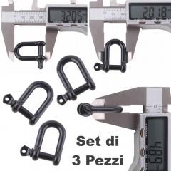 Set 3 Pezzi Grillo Moschettone 20 mm U-Shape Chiusura Braccialetti PARACORD BK