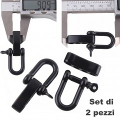 Set 2 Pezzi Grillo Moschettone 20 mm U-Shape Chiusura Braccialetti PARACORD BK