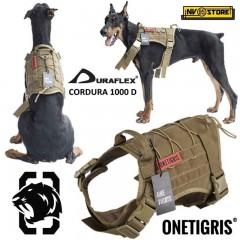 Pettorina Cani K9 OneTigris Militare Sistema MOLLE Cordura 1000D Clip D-flex CY
