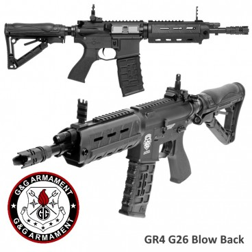Fucile Elettrico G&G Armament GR4 G26 ADVANCED BLOW-BACK con Laser e Torcia M4 Softair