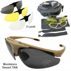 Occhiali Protettivi con 3 Lenti Intercambiabili GOGGLES SUNGLASSES Softair TAN