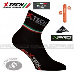 Calze XTECH Tecniche X-TECH SPORT CICLO PRO X-Pro + Lycra Made in Italy 100% BK