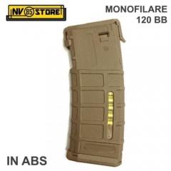Caricatore Monofilare per Fucile Softair M4 120BB stile P-MAG Mid-Cap in ABS Tan