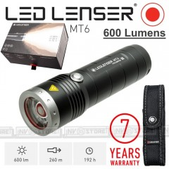 TORCIA LED LENSER Torch MT6 OUTDOOR 600 Lumens REALI 260 METRI +Batterie INCLUSE
