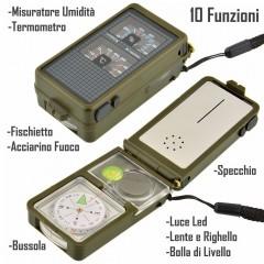 BUSSOLA COMPASS 10 FUNZIONI Termometro Led Acciarino Fischietto Livella Specchio