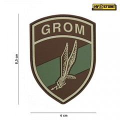 Patch in PVC Forze Speciali GROM 8,5 x 6 cm OD Militare Softair con Velcrogrip