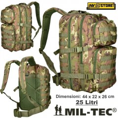 ZAINO TATTICO INCURSORE MIL-TEC 25-30 LITRI VEGETATO ASSAULT SOFTAIR CAMPING