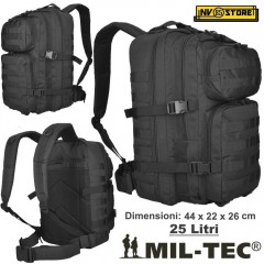 ZAINO TATTICO INCURSORE MIL-TEC MILTEC ASSAULT 25-30 LITRI NERO BLACK SOFTAIR