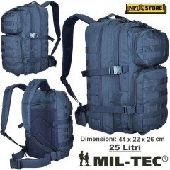 ZAINO TATTICO INCURSORE MIL-TEC MILTEC ASSAULT 25-30 LITRI NAVY BLU SOFTAIR
