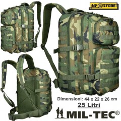ZAINO TATTICO INCURSORE MIL-TEC MILTEC ASSAULT 25-30 LITRI WOODLAND SOFTAIR