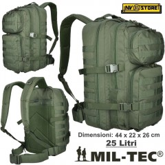 ZAINO TATTICO INCURSORE MIL-TEC MILTEC ASSAULT 25-30 LITRI VERDE GREEN SOFTAIR