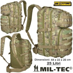 ZAINO TATTICO INCURSORE MIL-TEC MILTEC ASSAULT 25-30 LITRI MULTITARN SOFTAIR