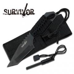 KNIFE COLTELLO DA CACCIA SURVIVOR 320B + ACCIARINO FUOCO SURVIVAL SOPRAVVIVENZA