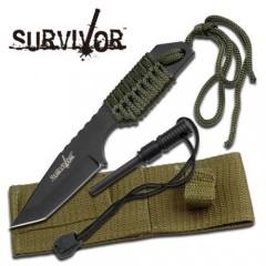 KNIFE COLTELLO DA CACCIA SURVIVOR 320 + ACCIARINO FUOCO SURVIVAL SOPRAVVIVENZA