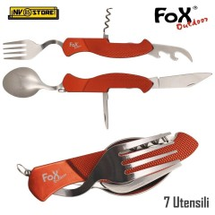 SET DI POSATE CHIUDIBILI MFH FOX OUTDOOR FOLDING COLTELLO FORCHETTA CUCCHIAIO