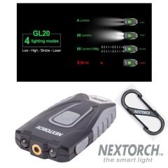 Torcia Portachiavi NEXTORCH GL20 Laser Combo Ricaricabile USB + LED 60 Lumens
